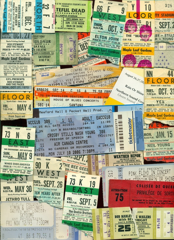 A collage of concert tickets. The face value of the ticket and various terms and conditions are included on some tickets. Featured performers listed include: the Beatles; the Rolling Stones; the Grateful Dead; Neil Young; CSN&Y; Simon & Garfunkel; Bob Marley & the Wailers; the Who; YES; U2; Ten Years After; Pink Floyd; Deep Purple; the Doobie Brothers; Elton John; Rod Stewart and the Faces; Emerson, Lake and Palmer; Jethro Tull; Frank Zappa; Weather Report; Maria Muldaur; Wings; and, the Bee Gees. Event dates range between 1964 and 2006. Venues include University of Toronto's Varsity Stadium, Maple Leaf Gardens, Skydome, Colisee de Quebec, Montreal's Bell Centre, Santa Barbara County Bowl, Arlington Theater, and UCSB Campus Stadium.