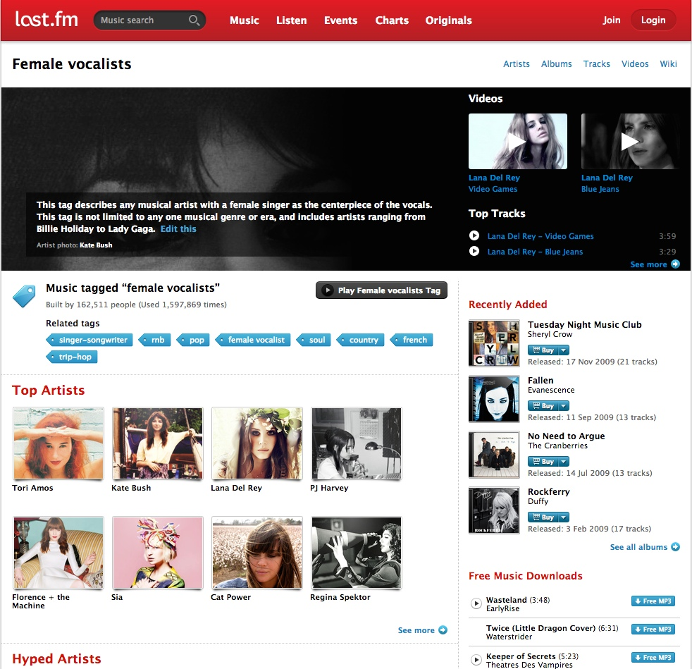 """A screenshot of the music site Last.fm's tag page for """"female vocalists,"""" which includes a definition of the tag, and related songs, videos, artists, and downloads available through the site."""