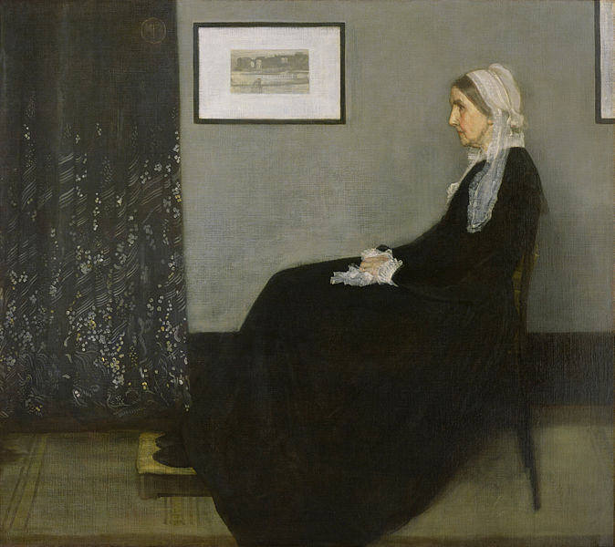 Image of a painting in which an elderly woman wearing a dark dress and a head covering, her hands holding a lacy handkerchief, is seated on a chair in what appears to be a parlor or a living room.