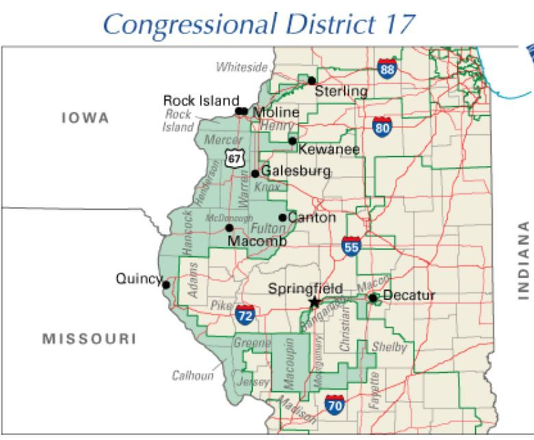 A map of the 17th Congressional district of the state of Illinois shows a highly contorted shape that interconnects all the major cities in the western part of the state into a shape often described as a rabbit on a skateboard.