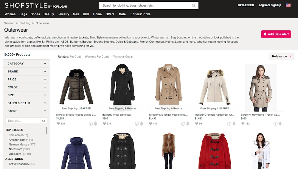 A listing page of women's outerwear items on Shopstyle.com.