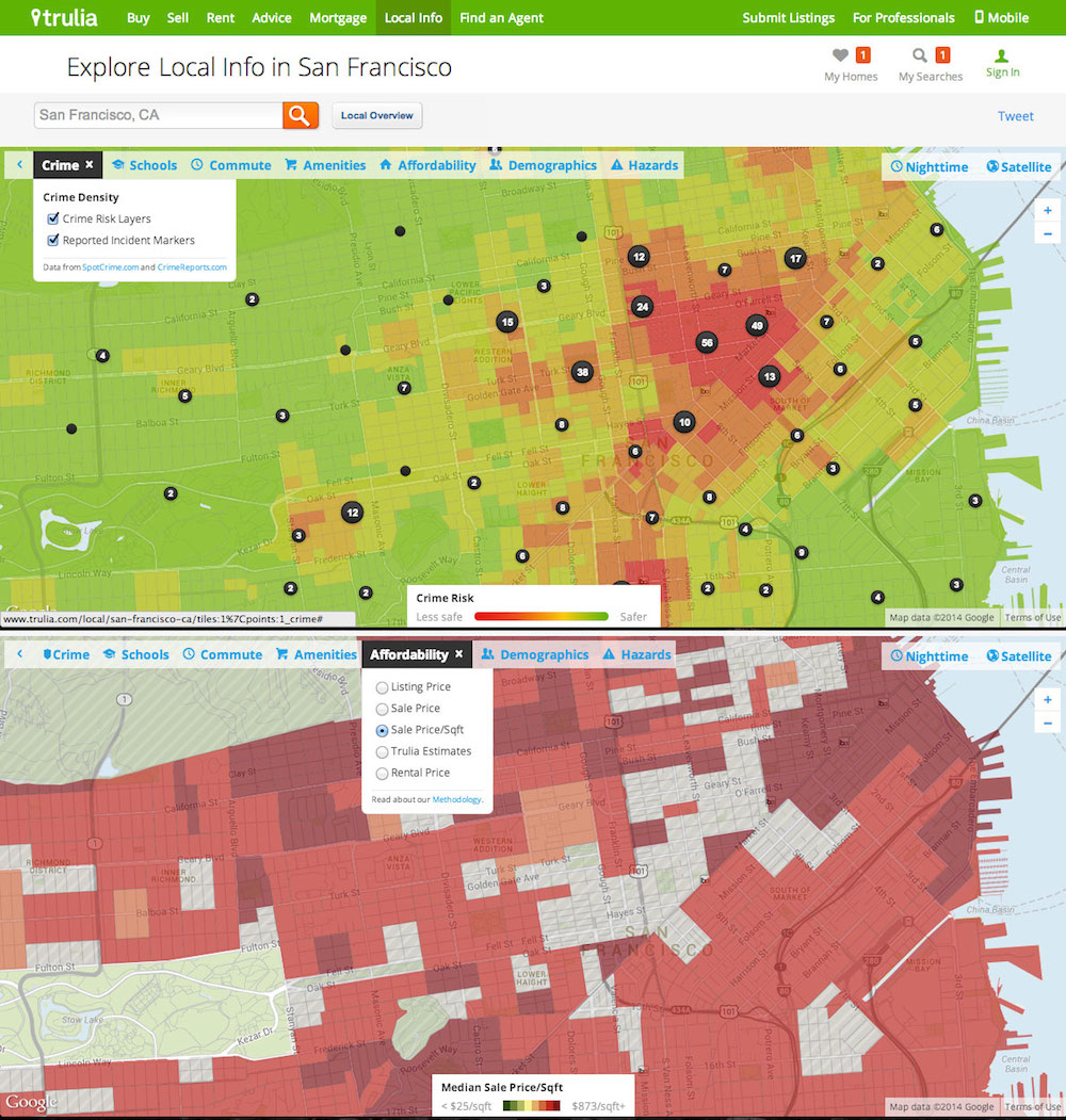 Two online maps of central San Francisco are overlaid with colored blocks that indicate the relative crime density and home sale prices, respectively, in different areas of the city.