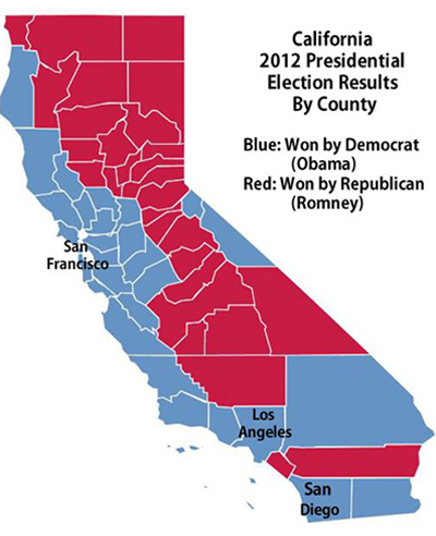 Map of the State of California depicts some counties in red and others in blue.