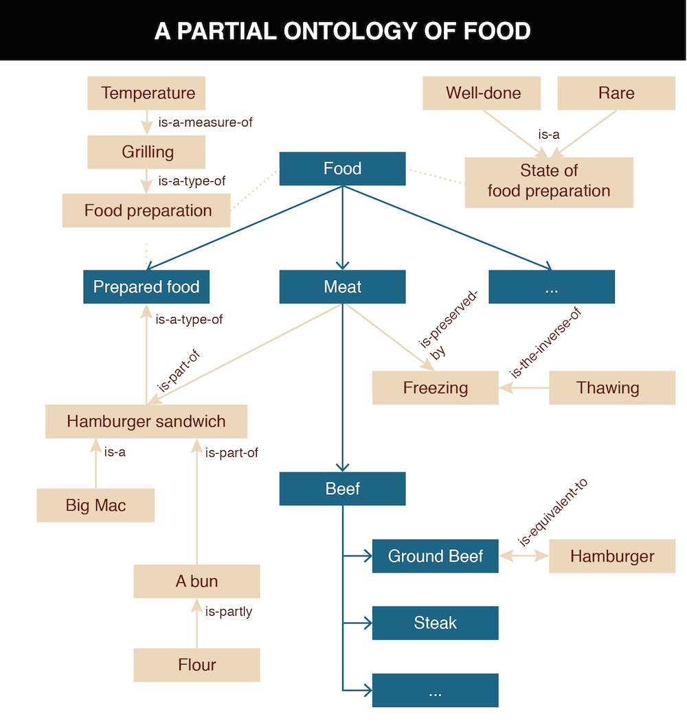 A chart depicting a partial taxonomy of food.