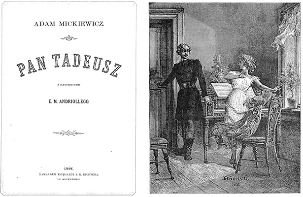 Title page for book and image of engraving.