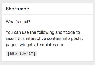 Screenshot of H5P shortcode pane