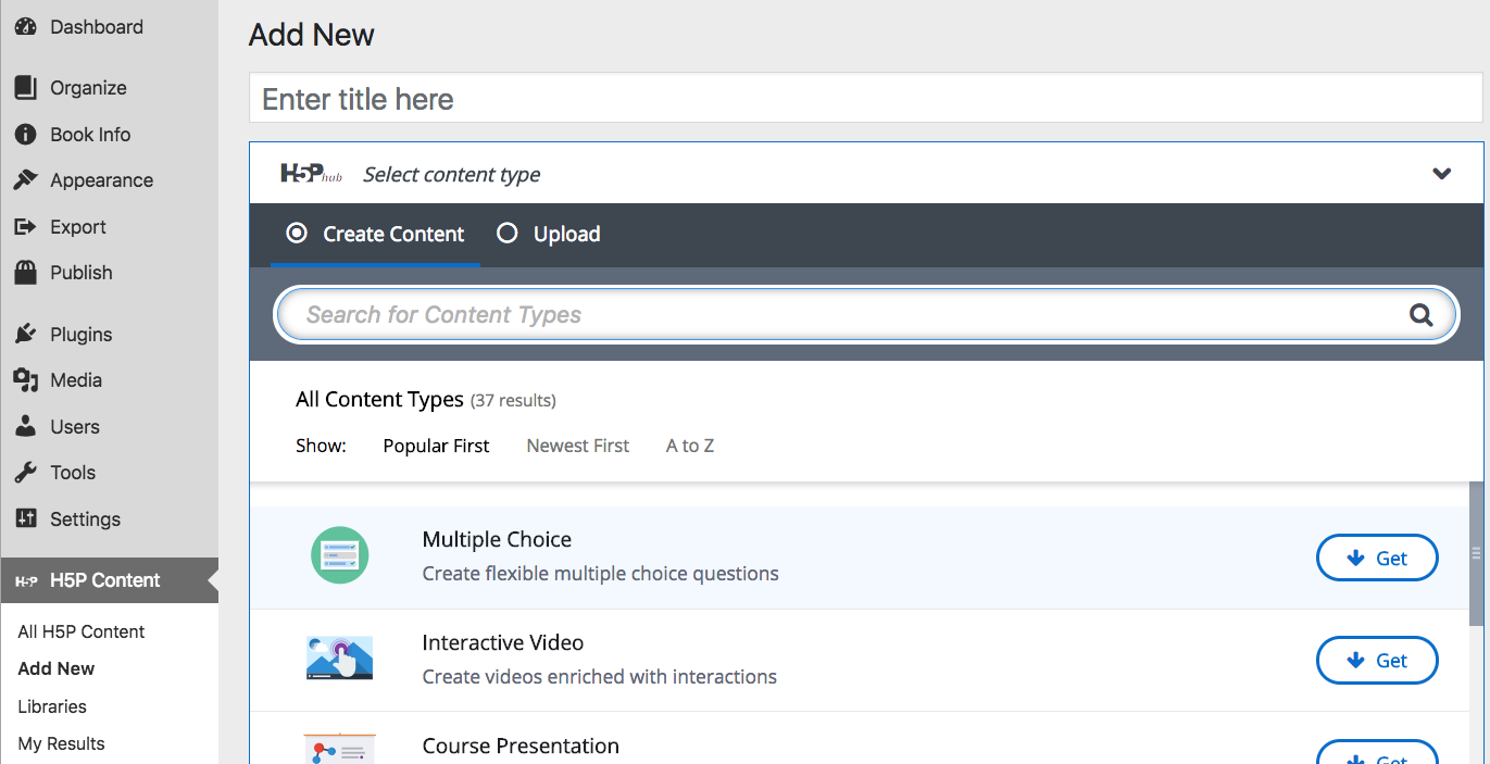 Screenshot of H5P options dropdown menu